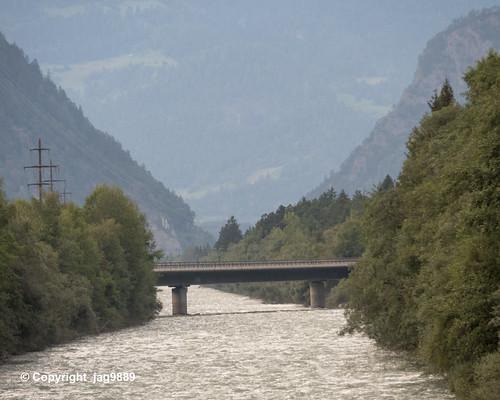 RHE175 Motorway A13 Road Bridge over the Hinterrhein River, Pratval - Cazis, Canton of Graubünden, Switzerland