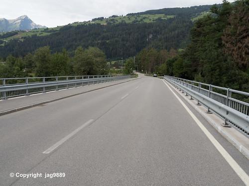 RHE177 Rodelserstrasse Bridge over the Hinterrhein River, Rodels - Realta, Canton of Graubünden, Switzerland