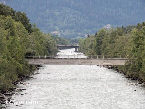 RHE176 Pedestrian Bridge over the Hinterrhein River, Rodels - Realta, Canton of Graubünden, Switzerland