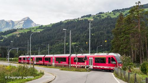 Rätische Bahn leaving Rodels-Realta Station, Cazis, Grisons, Switzerland