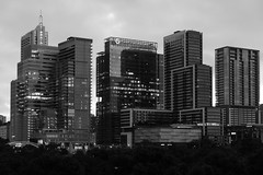 Downtown Austin Buildings at Sunrise (Black and White)