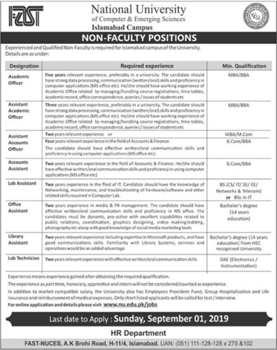 Fast National University of Computer and Emerging Sciences Jobs 2019