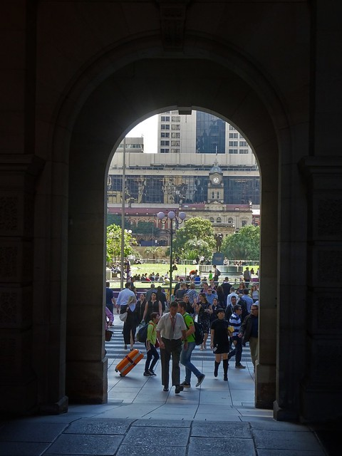 Photo:Brisbane. From the arch of the Post Office built in 1872 is Anzac Park and beyond with the clock tower is Central Railway Station built in 1899. By denisbin