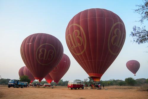 Tourists enjoy hot air balloon flights