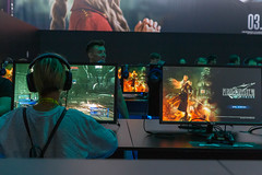 Woman plays with the Final Fantasy VII Remake at the Gamescom in Cologne, Germany