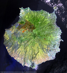 Image by europeanspaceagency (europeanspaceagency) and image name Gran Canaria wildfire photo  about An unprecedented wildfire has ripped through the island of Gran Canaria, one of Spain's Canary Islands off the northwest coast of Africa. The wildfire, which started on Saturday 17 August, has now started to subside after engulfing around 10 000 hectares of land, leading to the evacuation of over 90