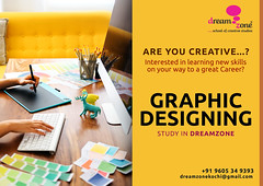Image by dreamzonekochi (181958985@N04) and image name Graphic design courses photo  about DreamZone's School of Graphics and Animation teaches concepts and tools for graphic design, web design, 2D & 3D Modeling, animation, and post production functions. Yes, we begin with teaching good old drawing concepts and go on to cover the design fundamentals of colour theory, graphics, design