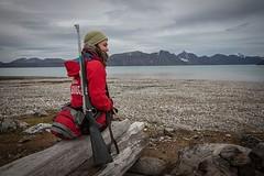 Image by contourair (contourair) and image name Se Världen med ContourAir.se photo  about Tung beväpning är en del av den livsviktiga utrustningen som guiderna bär med sig. Svalbard är isbjörnens rike, vi människor är där på besök. Välkommen med din bokning av Hurtigrutens kryssning runt nordvästra Svalbard. Avresa sommaren 2020. #contourairse #sevärlden #nextleveltravel #hurtigruten #kr