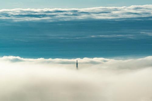 Steeple of Ulm Minster in Fog.