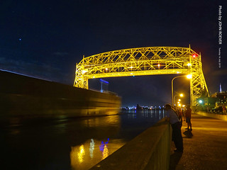 Ship sailing into Duluth at Night, 16 July 2019
