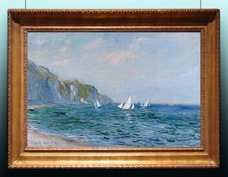 1882 Monet Pourville,scogliera e barche a vela(collezione privata)
