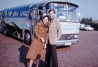 Found Photo - Couple & Euro Tour Bus, 1972