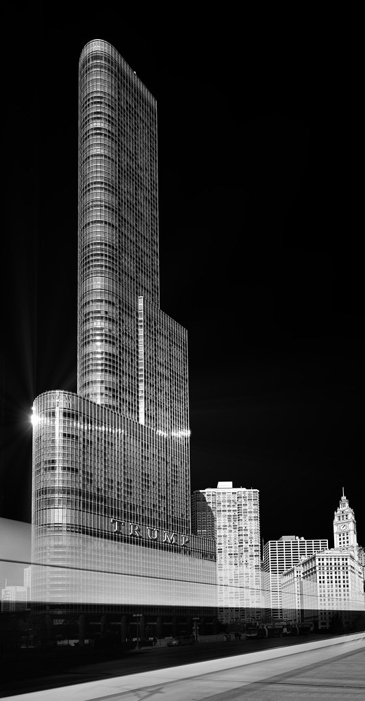 Trump International Hotel and Tower with a Streaking Bus