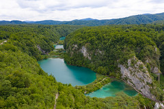 Walking trails separating the lakes of Plitvica stream in Croatia