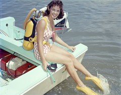 Carol Clough preparing to go scuba diving in Clearwater.