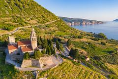 St. Nicholas Church with a view to the Adriatic Sea, Komiza, Croatia