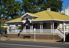 Gayndah Queensland. Town established 1849. The old wooden National Australia Bank in the Main Street.