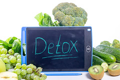Detox concept with green fruit and vegetables
