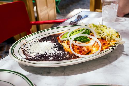 swiss chard enchilada, creamy green sauce, tomato habanero salsa, refried beans