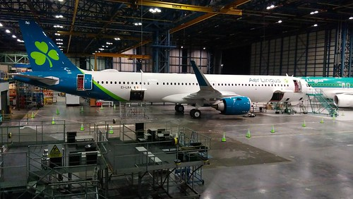 AER LINGUS. EI-LRA. A321 NEO. BEING PREPEARED FOR ENTRY INTO SERVICE AFTER DELIVERY FROM AIRBUS.