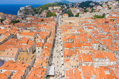 Shopping street Stradun in the historical center of Dubrovnik, Croatia