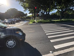 Crossing a busy street