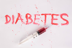 Bloody word Diabetes with injection needle