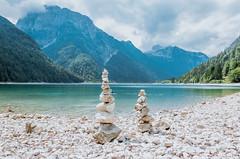 Zen stone tower at Predil lake