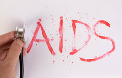 Bloody word AIDS with stethoscope