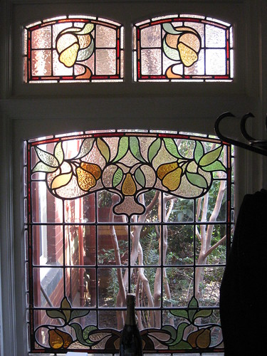 An Art Nouveau Stained Glass Window in the Dressing Room of