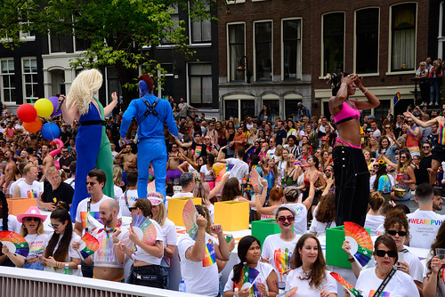 Gay Pride, Canal Parade, Europe Kledingbedrijf boot, Amsterdam 2019
