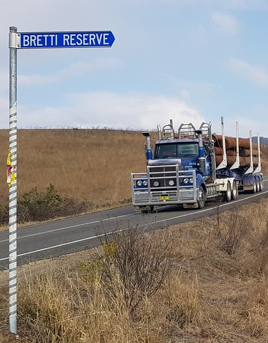 Western Star log truck at Bretti Reserve on the very hilly Thunderbolt Way, 34km north of Gloucester NSW.