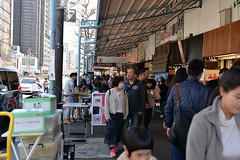 The streets outside the Tsukiji Fish Market were crowded