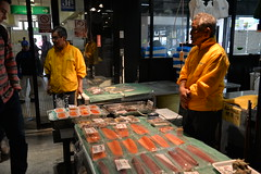 Fresh sashimi- tuna slices on sale in the aircon mall adjoining the Tsukiji outer market