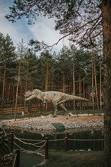 Realistic model of a  Tyrannosaurus rex in a dino park