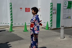 Mom gets her photo taken in a kimono- rentals were doing a roaring business that day!