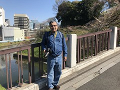 A selfie on the bridge across the canal near the Yasukini shrine
