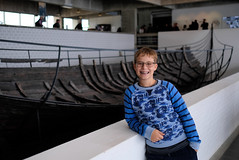 Lucas posing in front of one of the Skuldelev boats