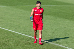 Professional soccer player Nadiem Amiri laughs with joy after the soccer practice of German club Bayer 04 Leverkusen
