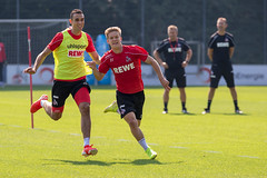German football player Vincent Koziello and central defender Ellyes Skhiri at football training before the next Bundesliga match