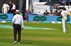 England's Jofra Archer returns to the pavilion and Stuart Broad emerges after Archer was dismissed for 15 against Australia on Day 4 of the 3rd Test of the 2019 Ashes at Headingley