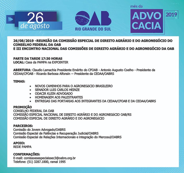 26/08/2019 III Encontro Nacional das Comissões de Direito Agrário e do Agronegócio da OAB - Expointer