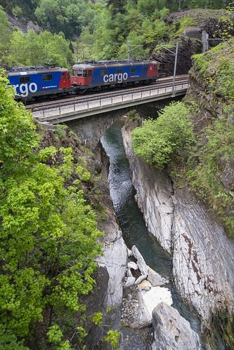 Cargo crossing the Ticino