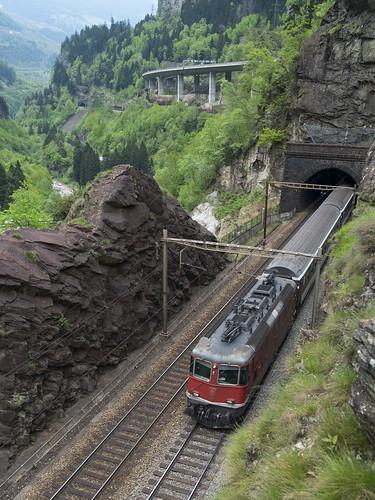 InterRegio train climbing above Faido
