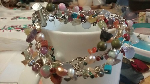 Sterling bracelet with gemstone beads