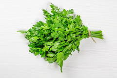 Bunch of fresh parsley. Top view