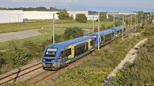 UM 3 X73569-Champagne Ardennes-X73563-Normandie-X73907-Alsace TER 832834 Mulhouse-Kruth à Vx Thann