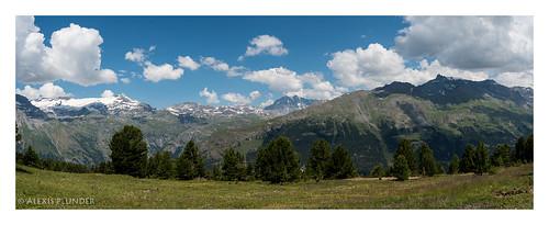 Panorama sur les glaciers de la Vanoise, vue du Grand roc cnoir