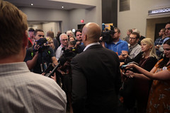 Cory Booker with media
