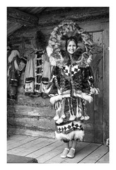 Native Alaskan Woman Modeling Ceremonial Parka